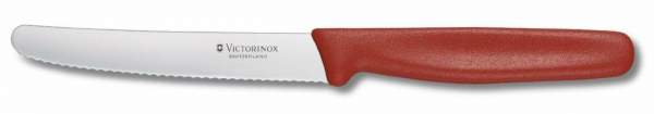 Victorinox Swiss Standard Tomaten- und Tafelmesser, rot, Wellenschliff, 11 cm, 5.0831